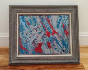 Nature abstract  Framed acrylic abstrct Blue red abstract Abstract decor Bold colorful bright abstract by RKMJCreatons
