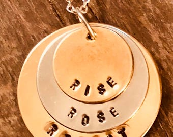 "Hand stamped ""Rise Rosé Repeat"" necklace"