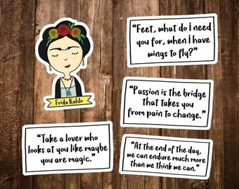 Frida Kahlo Sticker Set - Frida Kahlo Quote Stationary - Frida Kahlo Laptop Stickers - Feminist Gifts - Feminism/Frida Kahlo Party Decor