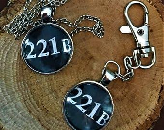 Sherlock Holmes Jewelry 221b BAKER STREET Book Lover Gift Necklace Pendant Keychain