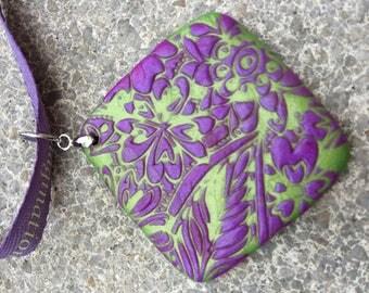 New: necklace pendant fimo Fuchsia & Green