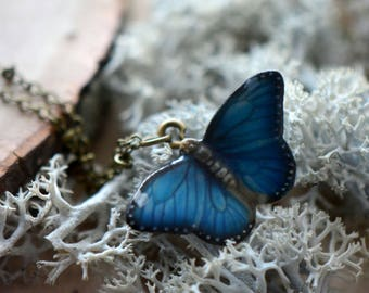 Tiny Blue Butterfly Charm Necklace, Hand Sculpted/Painted Figurine, Ceramic Animal Pendant & Chain ()