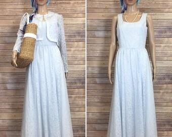 Vintage 1950's Style Pale Blue Floral Formal Laura Ashley Dress Jacket Size 6