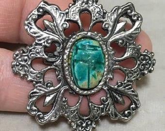 Vintage scarab bead brooch