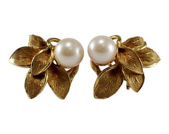 18k Yellow Gold Pearl Earrings, Vintage Earrings, Pearl Earrings, June Birthstone