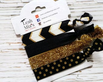 Black and Gold Hair Ties Set of 4, Sparkly Gold Hair Ties, Black with Gold Foil Hair Elastics, Adult Hair Ties, Premium Hair Ties, Gold dots