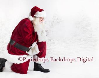 Digital Santa Backdrop, Digital Santa Download, Santa Blowing Snow With Snowy Pine Trees
