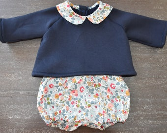 Navy Blue sweatshirt with Peter Pan collar and its matching liberty Betsy porcelain bloomers