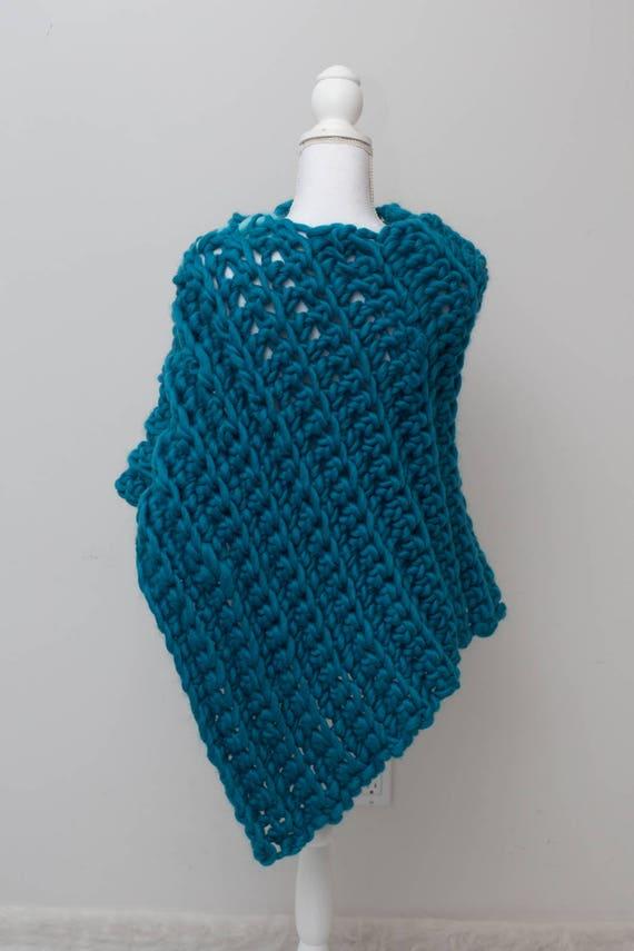 Knitting Diy Kits : Poncho knitting kit diy chunky knit