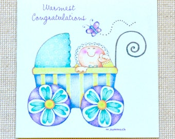 Cute Baby Welcome Card, Baby Shower Card, Baby in Stroller Card, Cute Baby Card, Baby Congratulations Card, New Baby Congratulations card