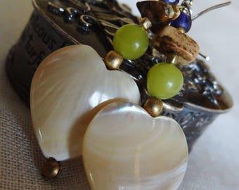 Heart Earrings in Pearl and peridot