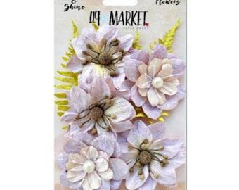 49 & Market Shimmer Shine Lilac Jardin - 49 And Market Lilac Jardin Flowers - Lilac Scrapbook Flowers - Lilac Embellishment Flowers - 1-040