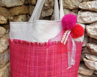 Large hemp summer tote bag unbleached rabane rose and tulle PomPoms