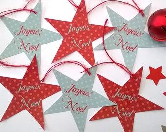 Six stars Christmas tags vintage colours.