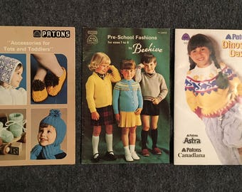 Vintage Beehive Patons Knitting Instruction Booklet/Magazine for Children Lot of 3