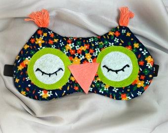 Sleeping owl floral eye sleep mask - Cute owl sleep mask - Cotton owl - Owl soft eye pillow - Natural kids adults Sleeping mask-gift for her