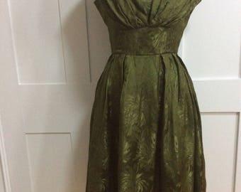1950's Jean Allen Olive Green Dress
