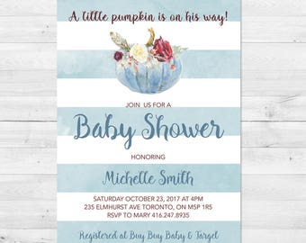 Baby Shower Invitation Boy, Fall Baby Shower Invitation, Pumpkin, A little Pumpkin, Blue, Stripes, Printed, Printable