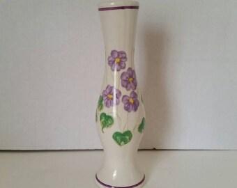 Vintage 1981 FTDA Bud Flower Vase Purple Pansies