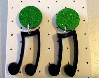 Music Notes Acrylic Dangle Drop Earrings Green Glitter and Black