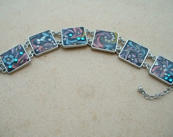 Flower bracelet to fall in Fimo - 6 square findings 20 mm