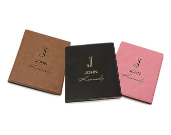Miniature Monogram Padfolio - Personalized Name Leatherette Travel Notebook - Custom Monogrammed Portfolio - Executive Notepad & Card Holder