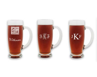 Monogram 18oz Pilsner Glass - Laser Engraved Beer Glass - Personalized Glass Beer Tankard - Groomsmen Beer Glass Gift - Personalized Stein