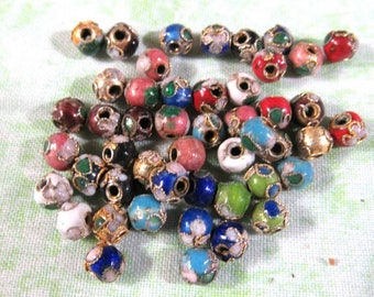 50 Round Cloisonne Beads 6mm (B404b)