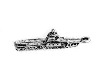 5 Antique Silver Aircraft Carrier Charms 30 x 10mm (B470n)