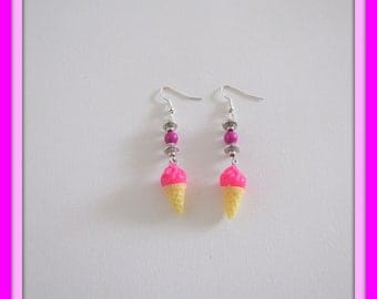 Pink ice cream cone and Pearl dangle earrings