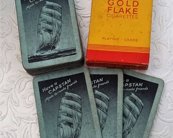 Cigarette playing cards, Wills tobacco Gold Flake Cigarettes and Capstan cards, 1940s Tobacciana