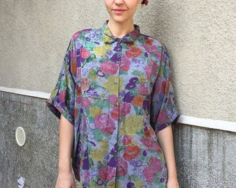 ON SALE Vintage 80s' style button up shirt/blouse
