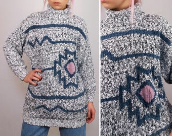 C&A Vintage 90's Turtleneck Wool Knit Jumper / Sweater/ High Neck Pullover Graphic Pattern