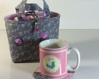 Mug romantic bag or purse mug and coaster