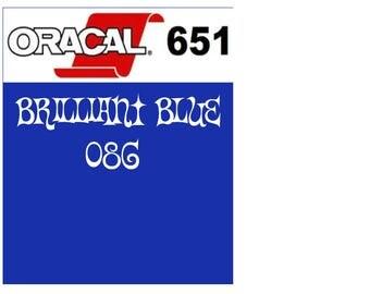 Oracal 651 Vinyl Brilliant Blue (086) Adhesive Vinyl - Craft Vinyl - Outdoor Vinyl - Vinyl Sheets - Oracle 651