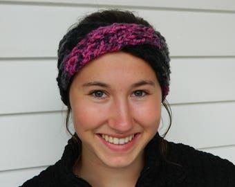 Black and Pink Headband - Maisie Crossover Crochet Headband