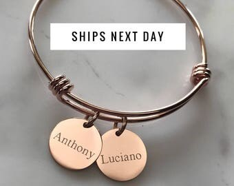 Custom Bracelet - Friendship Bracelet - Gold Bracelet - Initial Bracelet - Bangle Bracelet - Engraved Bracelet - Charm Bracelet - Rose Gold