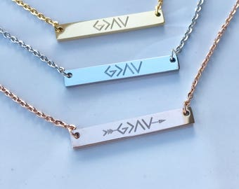 God is Greater Than the Highs and Lows - Bar Necklace - Personalized Gift For Her - Initial Necklace - Inspirational Necklace - Grad Gift