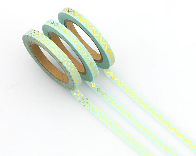 Skinny Washi Tape - Gold Foil Skinny Washi Tape - Paper Tape - Planner Washi Tape - Mint Washi - Decorative Tape - Deco - Multi Roll Pack