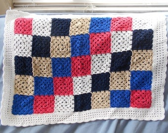 Hand-crocheted cotton baby blanket, bright colors