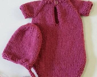 Knitted pink romper and bonnet/Newborn photography/newborn props /girls props/girls pink romper/knitted girls romper