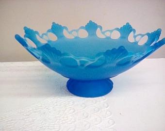 Westmoreland Glass Dark Blue Mist Ring & Petal Bowl