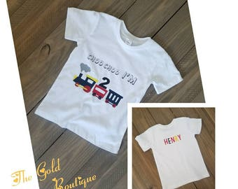 Choo Choo I'm 2 T-shirt, Birthday Train T-shirt, 2nd Birthday Personalized Choo Choo, Train Theme 2nd Birthday Shirt, Boy Birthday T-Shirt