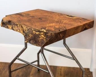 Modern Oregon Maple Burl Live Edge End Table, Nightstand
