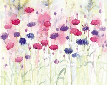 Cornflowers Watercolour Print