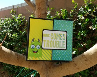 Handmade scrapbook mini album - Here Comes Trouble