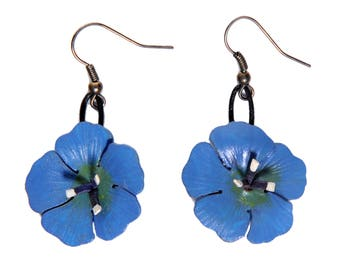 Earrings dangling flower leather