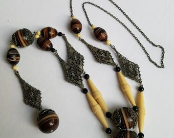 Art Deco Long Beaded Flapper Necklace Celluloid Beads Carved Beads Filigree Embellishments