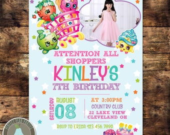 Shopkins Photo Invitation | Shopkins Birthday Invitation |
