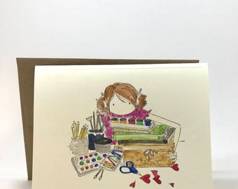 For girls, ladies, women, painter, extraordinary, artist, hand made, water colored cards